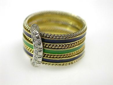 Seven Band Enamel Ring