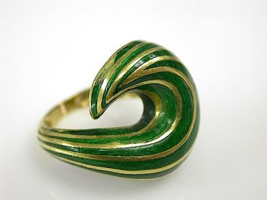 Green Swirl Enamel Ring