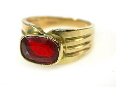 Vintage Fire Opal Solitaire Ring