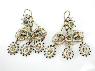 Vintage Inspired Pearl and Emerald Chandelier Earrings