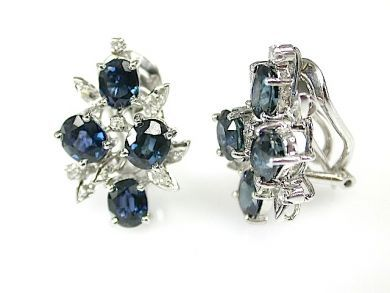 71597-May/Sapphire and Diamond Cluster Earrings CFA1305360