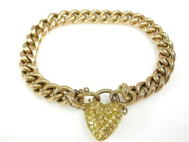 Vintage Gold Bracelet with Heart Clasp