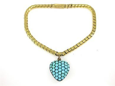 Victorian Turquoise Heart  Mourning Bracelet