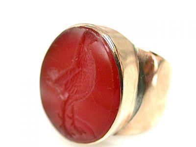 Vintage Carnelian Partridge Intaglio Ring