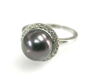 Modern Black Pearl and Diamond Ring