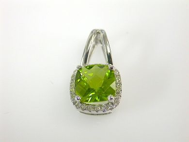 Modern Peridot and Diamond Pendant
