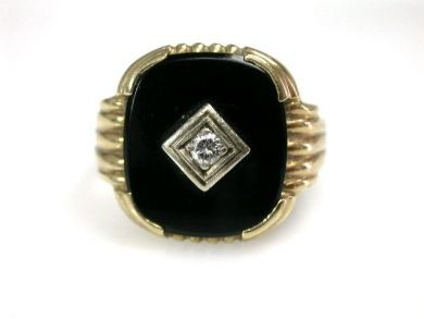 73156-catching up/Onyx and Diamond Ring CFA1208203