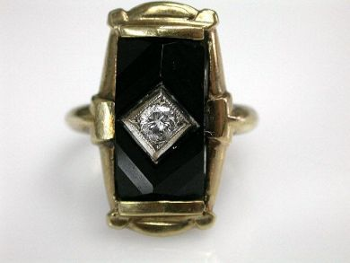73156-catching up/Vintage Onyx Ring CFA1208216