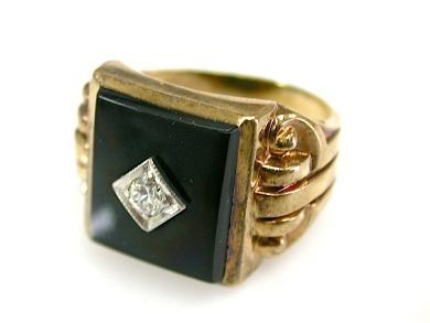 73226-September/Onyx and Diamond Ring CFA130921