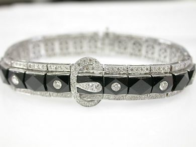 73276-September/Art Deco Style Onyx Bracelet CFA1309280
