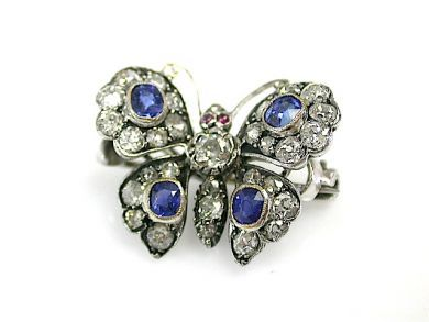 Antique Diamond Sapphire Ruby Butterfly Brooch