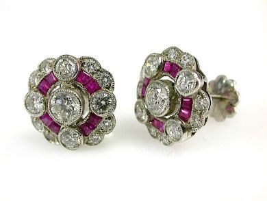 73412-Sapphire/Vintage Ruby Earrings CFA131078