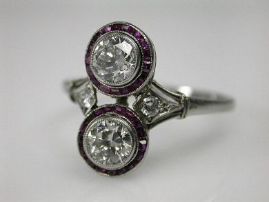 A69702-June/Art Deco Diamond Ruby Ring CFA1212257