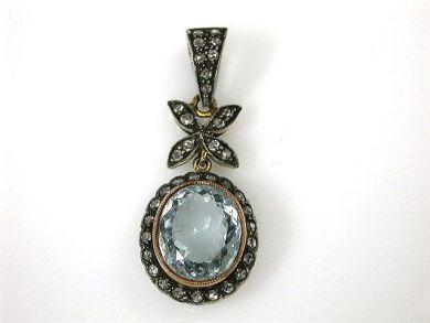Vintage Inspired Aquamarine and Diamond Pendant