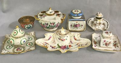 A Collection Of French   German Inkwells