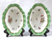 A Fine Pair Of Royal Worcester Oval Dessert Dishes, Circa 1909