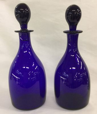 A Pair of Antique English Bristol Blue Decanters
