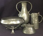A Selection of Arts & Crafts Style Tudric Pewter