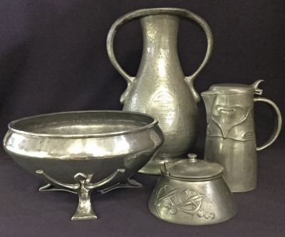 A Selection of Arts   Crafts Style Tudric Pewter  b
