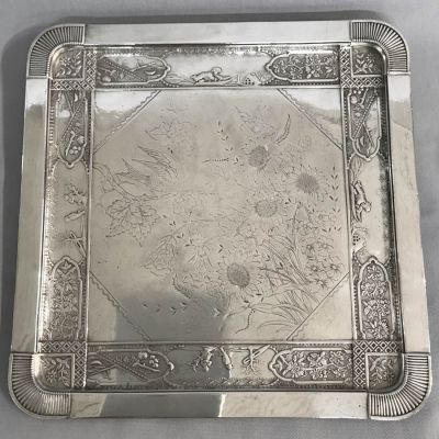 Aesthetic Movement Victorian Silver Plate Tray