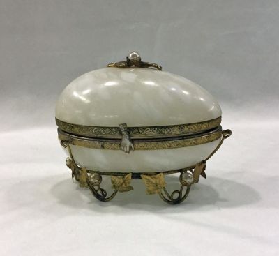 Alabaster Hinged Egg Shaped Jewel Box