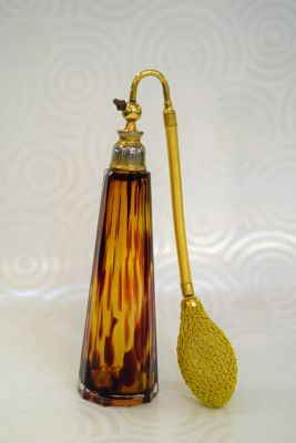 Amber Glass Scent Bottle with Atomizer  C