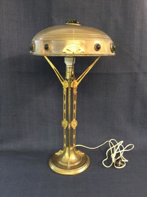 American Arts and Crafts    Jewelled    Brass Lamp - 1