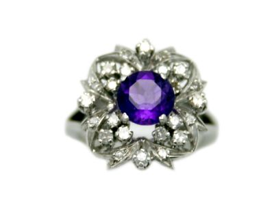 Amethyst Jewellery/Vintage Amethyst Ring with Floral Motif 1 Cynthia Findlay Antiques