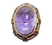 Antique Amethyst Cameo Brooch Pendant or Drop Holder