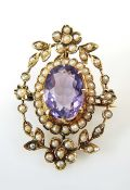 Antique Amethyst and Pearl Brooch Pendant