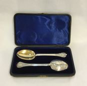 Antique Boxed Sterling Silver Berry Spoon Set