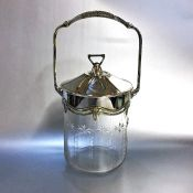 Antique Cut Glass Biscuit Barrel with Silver Plated Mounts