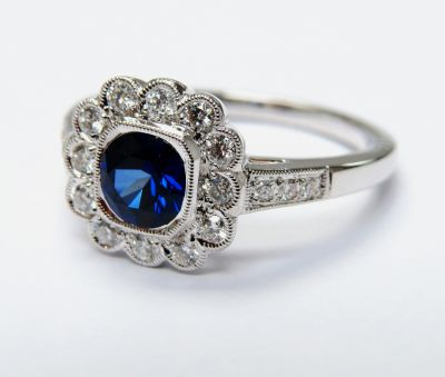 Antique Inspired Sapphire and Diamond Ring