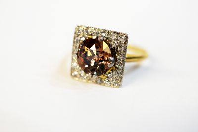 Antique Old Mine Cut Brown Diamond Ring