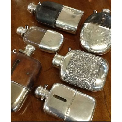 Antique-silver-plate-flasks
