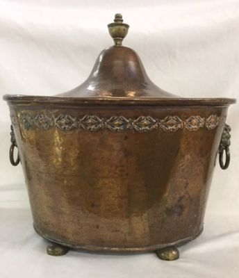 Antique Arts   Crafts hammered copper coal scuttle 2