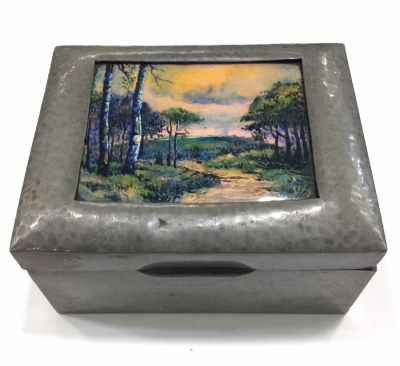 Liberty Tudric Pewter Box with Enamel Plaque