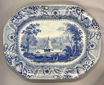 Antique Blue   White Transfer Ware Platter a