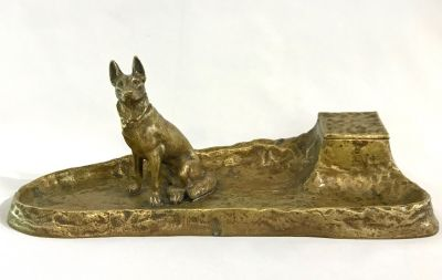 Antique Bronze InkwellPen Tray Of A Dog 4