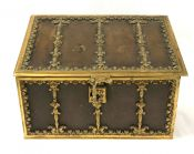 Antique Bronze and Leather Stationery Box