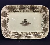 T. Furnival & Son Antique Brown Transfer Ware Platter of the