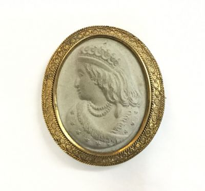 Antique Carved Lava Rock Cameo Brooch