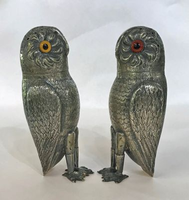 Antique Continental Silver Owl Form Salt   Pepper Castors 2