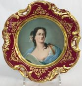 Antique Dresden Portrait Cabinet Plate