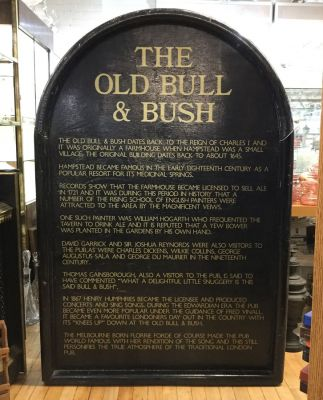 Antique English Wooden Pub sign for The Old Bull & Bush