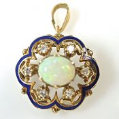 Antique Floral Opal Brooch Pendant