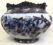 Antique Flow Blue Jardiniere