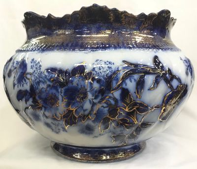 Antique Flow Blue jardiniere 4