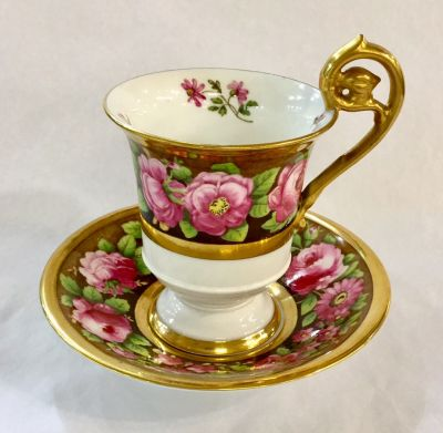 Antique Hand-Painted Spode Copeland Chocolate Cup   Saucer 5