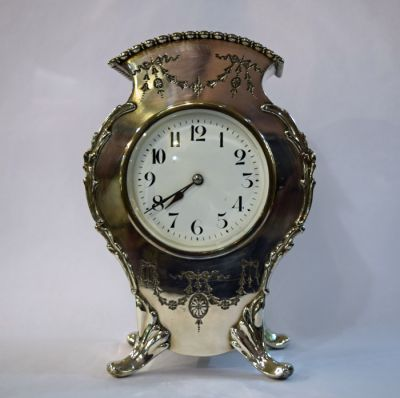 Antique Irish Silver Plate Mantle Clock  C